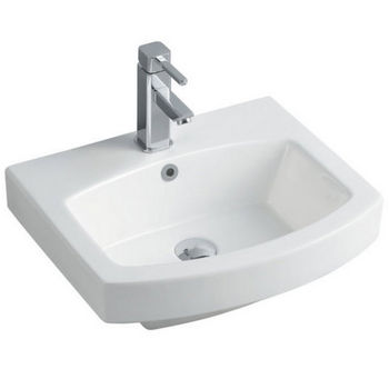"Empire Royale 21"" Single Hole Round Front White Ceramic Sink, 20''W x 16-1/2''D x 7''H"