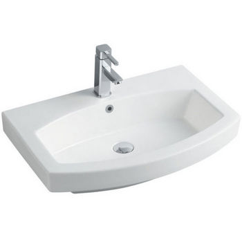 """Empire Royale 28"""" Single Hole Round Front White Ceramic Sink, 28''W x 18-1/2''D x 7''H"""