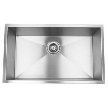 Empire 10mm (3/8'') Radius 16 Gauge Commercial Grade Single Undermount Sink in Satin Stainless Steel, 32'' W x 19'' D x 10'' H