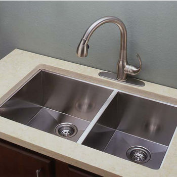 Empire 10mm (3/8'') Radius 16 Gauge Commercial Grade Double Undermount Sink in Satin Stainless Steel, 33'' W X 19'' D x 10'' H