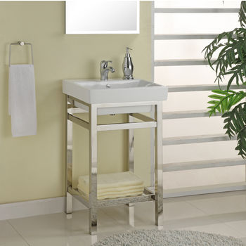 """Empire Old South Beach 21"""" Stainless Steel Console For Milano Sink, Polished Chrome or Satin Nickel"""