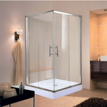 "Empire Corners Series Splash Square 6mm (1/4"") Thick Clear Tempered Glass Shower Doors Enclosure, 75"" Height"