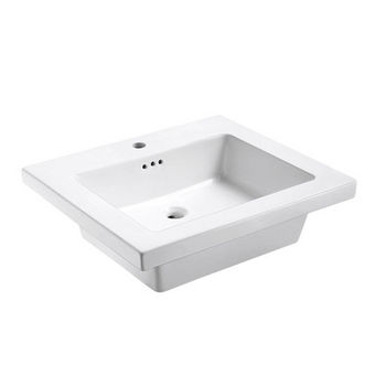 Empire Industries Tribeca 25X22 Ceramic Top Sink in White with 1 Hole Faucet Drill