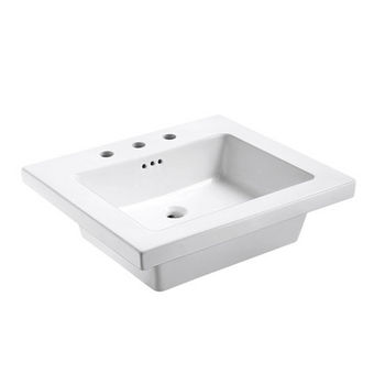 "Empire Industries Tribeca 25X22 Ceramic Top Sink in White with 8"" Faucet Drill"