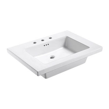 "Empire Industries Tribeca 31X22 Ceramic Top Sink in White with 8"" Faucet Drill"