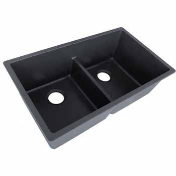 """Empire Titan Double Bowl 2 Equal Sinks Black Quartz 31""""W x 18"""" D x 9""""H"""