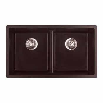 "Empire Titan Double Bowl 2 Equal Sinks Chocolate Quartz 31""W x 18"" D x 9""H"