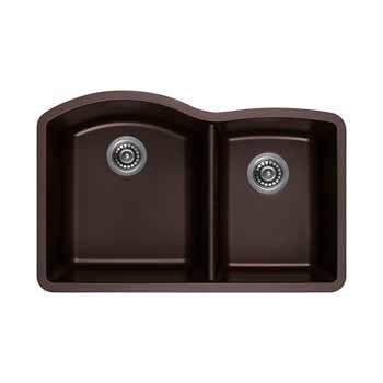 """Empire Titan 32""""x18"""" Double Bowl Large Bowl Left Chocolate Quartz"""