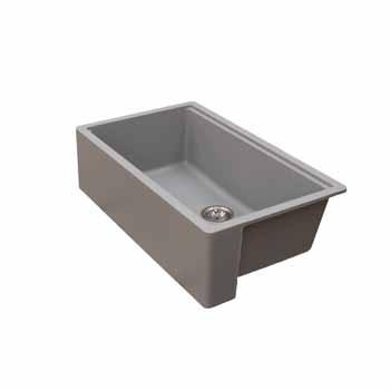 Empire Industries Titan Granite Composite Farmhouse Single Bowl Kitchen Sink, Grey