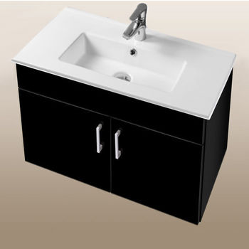"""Empire Industries Daytona Collection 30"""" Wall Hung 2-Door Bathroom Vanity in Black Gloss with Polished or Satin Hardware"""