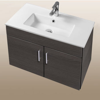 """Empire Industries Daytona Collection 30"""" Wall Hung 2-Door Bathroom Vanity in Greyline Gloss with Polished or Satin Hardware"""