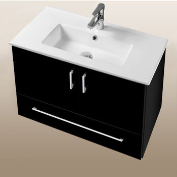 "Empire Industries Daytona Collection 30"" Wall Hung 2-Door/1-Drawer Bathroom Vanity in Black Gloss with Polished or Satin Hardware"