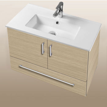 "Empire Industries Daytona Collection 30"" Wall Hung 2-Door/1-Drawer Bathroom Vanity in Pickled Oak with Polished or Satin Hardware"