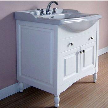 "Empire Windsor 31"" Extra Deep Solid Wood Bathroom Vanity in White"