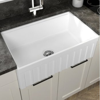 "Empire Industries Yorkshire Reversible Farmhouse Fireclay 30"" Single Bowl Kitchen Sink in White, 30"" W x 18"" D x 10"" H"