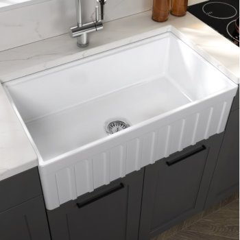 "Empire Industries Yorkshire Reversible Farmhouse Fireclay 33"" Single Bowl Kitchen Sink in White, 33"" W x 18"" D x 10"" H"