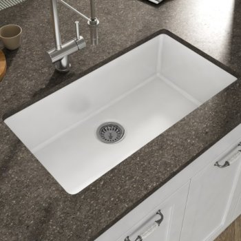 "Empire Industries Yorkshire Undermount Fireclay 32"" Rectangular Single Bowl Kitchen Sink in White, 31-1/2"" W x 18-3/8"" D x 9-13/16"" H"