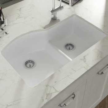 """Empire Industries Yorkshire Undermount Fireclay 33"""" Double Bowl D-Shape Kitchen sink in White, 33"""" W x 21"""" D x 9-13/16"""" H"""