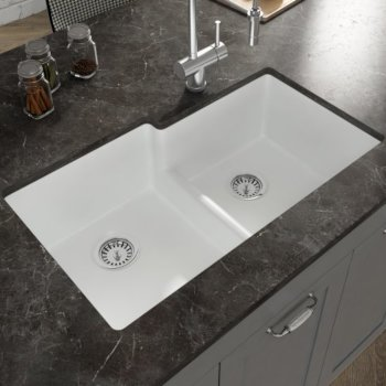 """Empire Industries Yorkshire Undermount Fireclay 33"""" Double Bowl Square Kitchen sink in White, 33"""" W x 19-7/8"""" D x 9-13/16"""" H"""