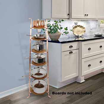Enclume Premium Collection 6-Tier Gourmet Cookware Stand in Brushed Copper, 16-1/2''W x 14-1/2''D x 53-1/2''H