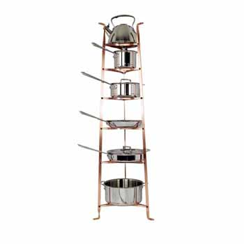 Enclume Premium Collection 6-Tier Gourmet Cookware Stand in Brushed Copper, 16-1/2''W x 14-1/2''D x 53-1/2''H, Shipped Assembled