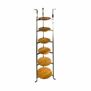 Enclume Premium Collection 6-Tier Gourmet Cookware Stand with Alder Shelves in Hammered Steel, 16-1/2''W x 14-1/2''D x 53-1/2''H, Shipped Assembled