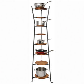 "Enclume Premier Collection 8-Tiered Hourglass Cookware Stand in Hammered Steel, 19-1/2"" W x 19-1/2"" D x 64"" H"