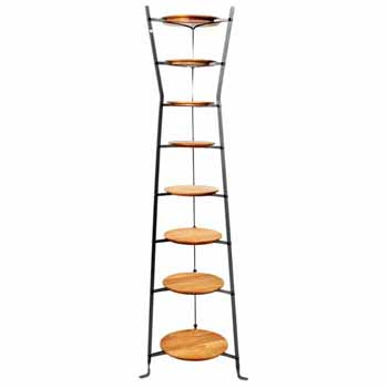 Enclume Premium Collection 8-Tier Gourmet Hourglass Cookware Stand with Alder Shelves in Hammered Steel, 19-1/2''W x 19-1/2''D x 64''H, Shipped Assembled