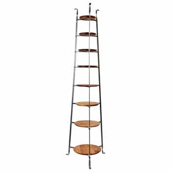 Enclume Premium Collection 8-Tier Gourmet Cookware Stand with Alder Shelves in Hammered Steel, 19-1/2''W x 16-1/2''D x 68''H, Shipped Assembled