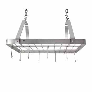 Enclume Décor Collection Rectangle Rack with 12 Hooks, Stainless Steel, 24''W x 15-1/4''D x 14''H