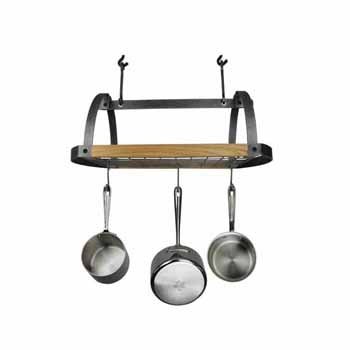 Enclume Décor Collection Oval Ceiling Pot Rack with Alder Shelf and 12 Hooks, Hammered Steel, 28-1/2''W x 17-1/2''D x 22''H