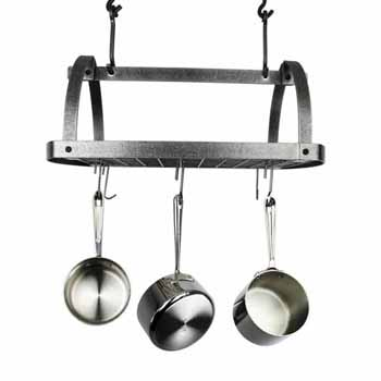 Enclume Décor Collection Oval Ceiling Pot Rack with 12 Hooks, Hammered Steel, 28-1/2''W x 17-1/2''D x 22''H