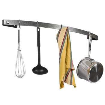 """Enclume 30"""" Bow Utensil Bar, Hammered Steel, 30""""W x 5""""D x 3""""H"""