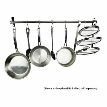 "Enclume Habitat, Import Collection 40"" Utensil Bar Wall Rack with 10 S Hooks, Stainless Steel, 39-3/8''W x 1-1/2''D x 3-3/4''H"