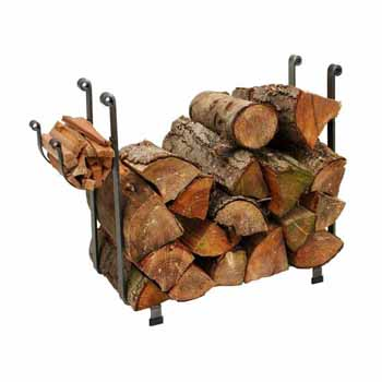 Enclume Premium Collection Indoor/Outdoor Large Rectangle Fireplace Log Rack in Hammered Steel, 36''W x 12-1/2''D x 26-1/2''H