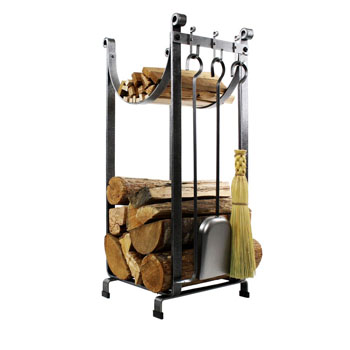 "Enclume Premium Collection Sling Fireplace Log Rack With Bar and Tools in Hammered Steel, 14""W x 16""D x 34""H"