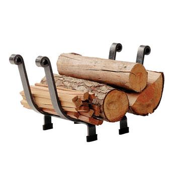 "Enclume Premium Collection Indoor/Outdoor Basket Fireplace Log Rack Hammered Steel, 18""W x 9-1/2""D x 11-1/2""H"