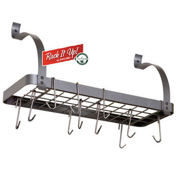 Enclume Rack It Up, Import Collection Solid Frame Bookshelf Wall Rack with Curved Arms & 8 Hooks in Steel Gray Hammertone