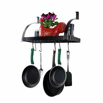 Enclume Rack It Up, Import Collection Solid Frame Bookshelf with 8 Hooks Wall Rack in Black, 24''W x 9-1/4''D x 12-1/4''H