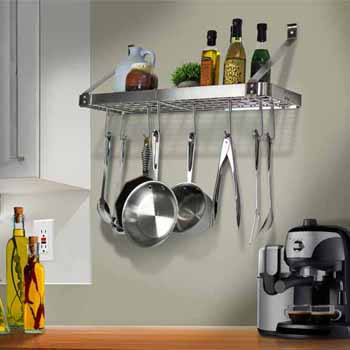 Enclume Rack It Up Import Collection 24 Bookshelf Wall With Straight Arms 8 Hooks In Stainless Steel 24W X