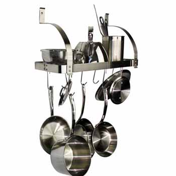 """Enclume Rack It Up, Import Collection 24"""" Bookshelf Wall Rack with Curved Arms & 8 Hooks in Stainless Steel, 24''W x 10''D x 16''H"""