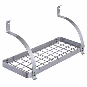 Enclume Rack It Up, Import Collection Bookshelf Wall Rack with Curved Arms & 8 Hooks in Silver, 24''W x 10''D x 16''H