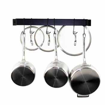 Enclume Rack It Up, Import Collection Easy Mount Wall Rack Utensil Bar with 6 Hooks in Black