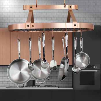 Enclume Three Foot Oval Ceiling Pot Rack w 18 Hooks in Brushed Copper, 36-1/2''W x 17''D x 22''H