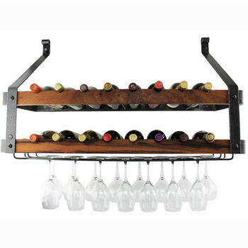 """Enclume Signature Collection Double Wine Rack with Tigerwood in Hammered Steel, 36"""" W x 13"""" D x 22-1/2"""" H"""