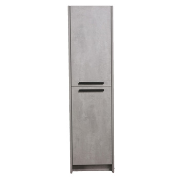 "Eviva Lugano 16"" W Cement Gray Freestanding Modern Bathroom Linen Side Cabinet, 16"" W x 13"" D x 75"" H"