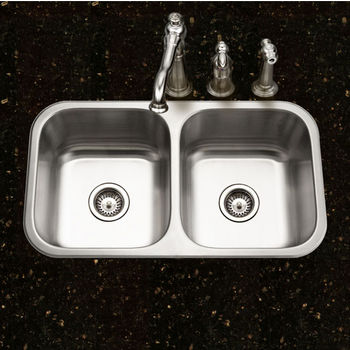 """Houzer Belleo Series 50/50 Topmount Double Bowl Kitchen Sink with Beveled Edge in Stainless Steel, 31-1/2"""" W x 17-15/16"""" D, 9"""" Bowl Depth"""