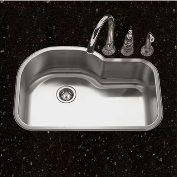 "Houzer Belleo Series Topmount Offset Single Bowl Kitchen Sink with Beveled Edge in Stainless Steel, 31-1/2"" W x 21"" D, 9"" Bowl Depth"