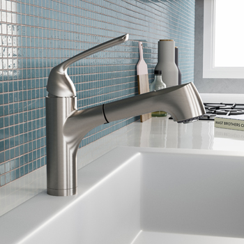 Brushed Nickel Calia Pull Out Bar Faucet
