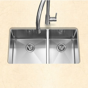 """Houzer #EX-CND-3360, Savior Series 10mm Radius Undermount Kitchen Double Bowl in Satin Stainless Steel, 32"""" W x 18"""" D, 10"""" Bowl Depth"""